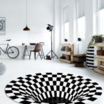 3D Round Carpet Checkered Vortex Optical Illusions Floor Mat